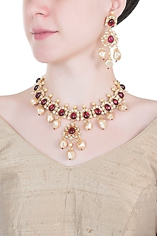 Gold plated ruby, kundan and pearl necklace set