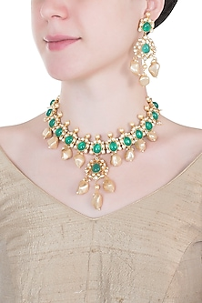 Gold plated emerald, kundan and pearl necklace set