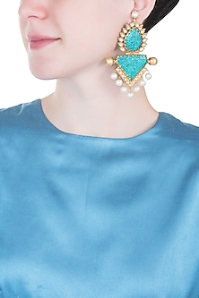 Gold plated turquoise stone earrings