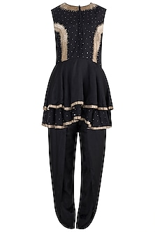 Black embroidered peplum top with dhoti pants