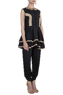 Black embroidered peplum top with dhoti pants by VASTRAA