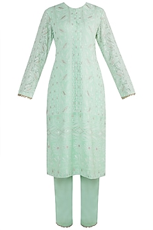 Green embroidered lucknowi kurta set