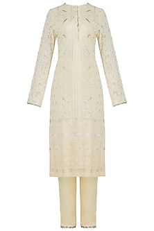 Yellow embroidered lucknowi kurta set