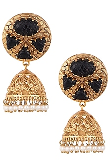 Dull gold plated smoky quartz and pearl jhumki earrings by VASTRAA Jewellery