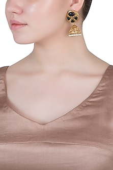 Dull gold plated smoky quartz and pearl jhumki earrings