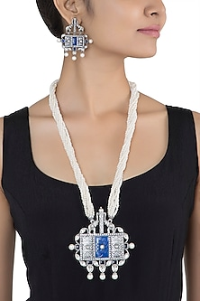 Antique silver plated lapis lazuli and kundan necklace set