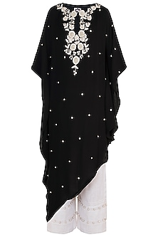 Black Hand Embroidered Kaftan With Cropped Pants by Varsha Wadhwa