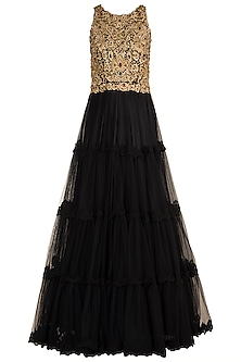 Black Embroidered Tiered Gown by Varsha Wadhwa