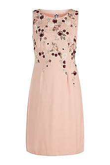 Tea Rose Embroidered Floral Dress by Varsha Wadhwa