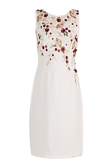 White Hand Embroidered Floral Shift Dress by Varsha Wadhwa