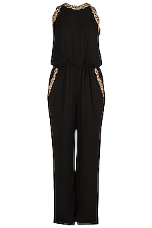 Black Embroidered Sleeveless Jumpsuit by Varsha Wadhwa