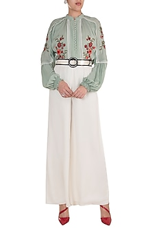 Ice Blue Embroidered Top by Varsha Wadhwa