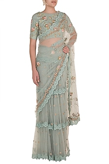 Ice Blue Embroidered Saree Set by Varsha Wadhwa