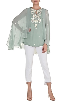 Ice Blue Embroidered Cape Top by Varsha Wadhwa