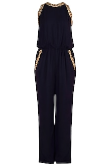 Midnight Blue Embroidered Jumpsuit by Varsha Wadhwa