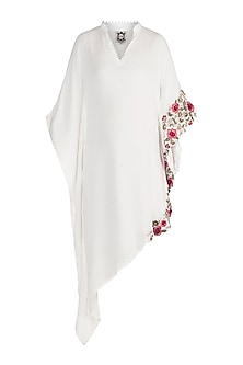 Ivory Embroidered Floral Kaftan by Varsha Wadhwa