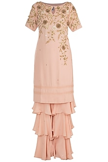 Tea Rose Embroidered Sharara Set by Varsha Wadhwa