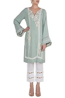 Ice Blue Embroidered Kurta With Cropped Pants by Varsha Wadhwa