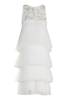 White Embroidered Tiered Dress by Varsha Wadhwa