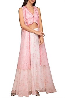 Pink Crop Top With Attached Cape & Skirt by Varun Bahl Pret