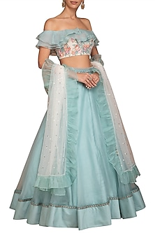 Turquoise Blue Embroidered Lehenga Set by Varun Bahl Pret