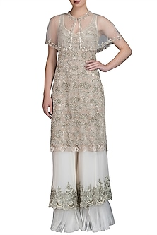 Ivory Embroidered Sharara Set With Cape by Varun Bahl