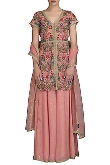 Old Rose Embroidered Sharara Set by Varun Bahl