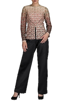 Multi Colored Embroidered Jacket With Trouser Pants by Varun Bahl