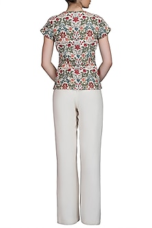 Multi Colored Embroidered Jacket With Ivory Trouser Pants by Varun Bahl