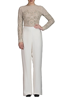 Ivory Trouser Pants With Embroidered Top by Varun Bahl