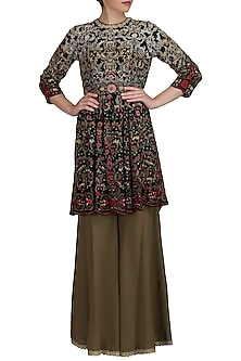 Black Ombre Embroidered Jacket Kurta With Sharara Pants by Varun Bahl