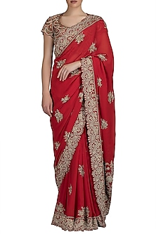 Red Embroidered Saree Set by Varun Bahl