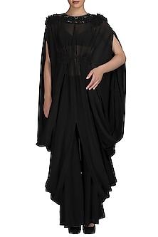 Black Chiffon Cowl Dress by Varun Bahl
