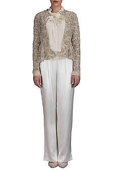 Ivory Embroidered Peplum Top With Pants & Jacket by Varun Bahl