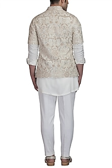Ivory Kurta Set With Bundi Jacket by Varun Bahl Men