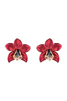 Gold Plated Metallic Red Orchid Stud Earrings by Valliyan by Nitya Arora