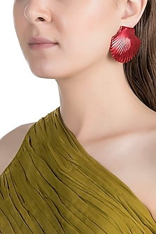 Gold Plated Metallic Red Shell Stud Earrings by Valliyan by Nitya Arora