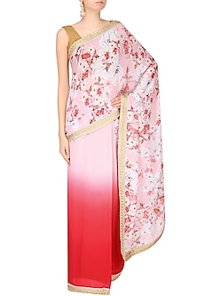 Pink Ombre Shaded Floral Printed Saree by Varun Bahl