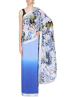Blue Ombre Shaded Floral Printed Saree by Varun Bahl
