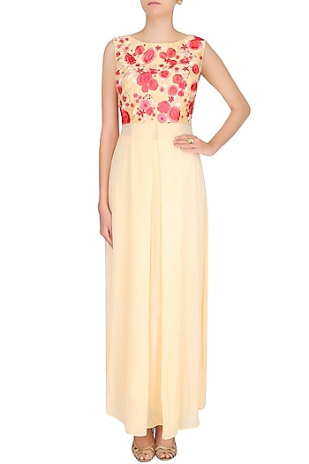 Light Yellow Floral Embroidered Pleated Tunic With Straight Pants by Varun Bahl