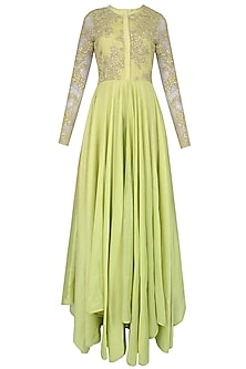 Pista Green Floral Embroidered Pleated Anarkali Set