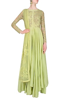 Pista Green Floral Embroidered Pleated Anarkali Set by Varun Bahl