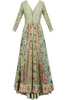 Sage Green Floral Embroidered Jacket Lehenga Set