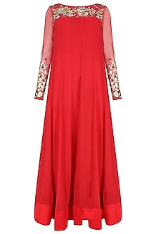 Red floral thread and sequins embroidered flared anarkali set