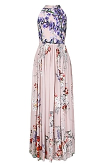 Pale Pink Floral Printed High Neck Maxi Dress