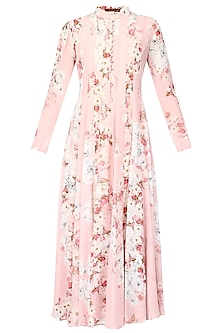 Pink floral printed high neck pleated tunic