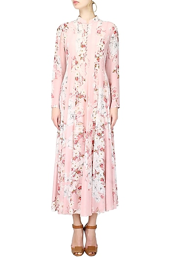 Pink floral printed high neck pleated tunic by Varun Bahl