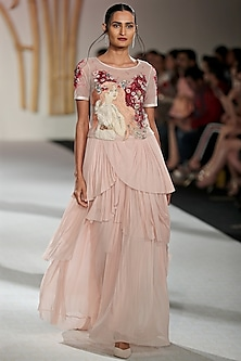 Pale Pink Embroidered Top with Drape Skirt by Varun Bahl