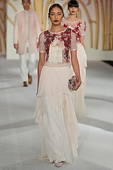 Ivory Embroidered Top with Drape Skirt by Varun Bahl