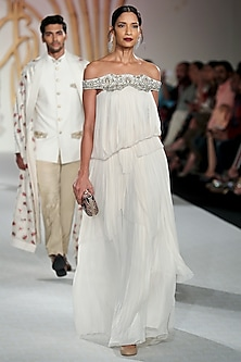 Ivory Off Shoulder Balloon Gown by Varun Bahl